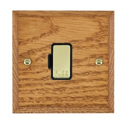 Hamilton Woods Chamfered Medium Oak 1 Gang 13A Fuse Only with Black Insert