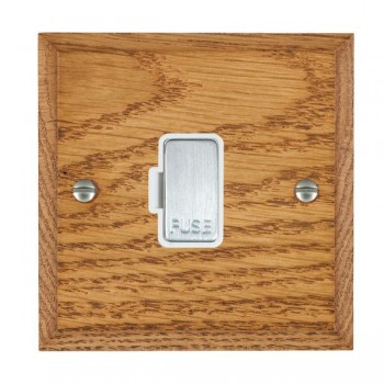 Hamilton Woods Chamfered Medium Oak 1 Gang 13A Fuse Only with White Insert