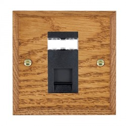 Hamilton Woods Chamfered Medium Oak 1 Gang RJ45 Cat 5E Unshielded Outlet with Black Insert