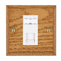 Hamilton Woods Chamfered Medium Oak 1 Gang RJ45 Cat 5E Unshielded Outlet with White Insert