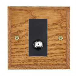 Hamilton Woods Chamfered Medium Oak 1 Gang Non Isolated Satellite Outlet with Black Insert