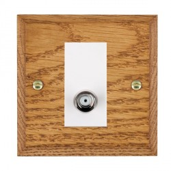 Hamilton Woods Chamfered Medium Oak 1 Gang Non Isolated Satellite Outlet with White Insert
