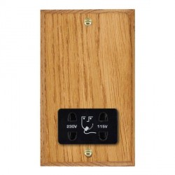 Hamilton Woods Chamfered Medium Oak Dual Voltage Shaver Socket with Black Insert