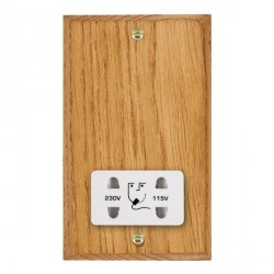 Hamilton Woods Chamfered Medium Oak Dual Voltage Shaver Socket with White Insert