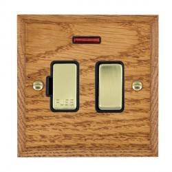 Hamilton Woods Chamfered Medium Oak 1 Gang 13A Fused Spur, Double Pole + Neon with Black Insert