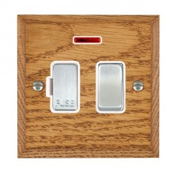 Hamilton Woods Chamfered Medium Oak 1 Gang 13A Fused Spur, Double Pole + Neon with White Insert
