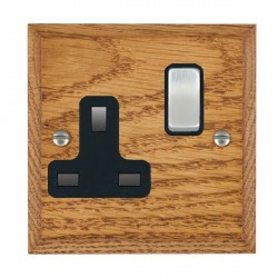 Hamilton Woods Chamfered Medium Oak 1 Gang 13A Switched Socket with Black Insert