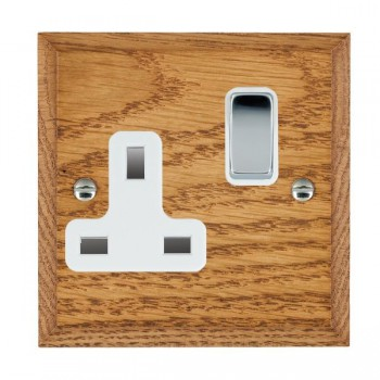 Hamilton Woods Chamfered Medium Oak 1 Gang 13A Switched Socket with White Insert