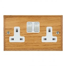 Hamilton Woods Chamfered Medium Oak 2 Gang 13A Switched Socket with White Insert