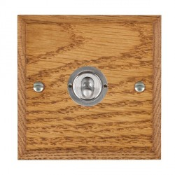 Hamilton Woods Chamfered Medium Oak 1 Gang 2 Way Toggle with Satin Chrome Insert