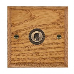 Hamilton Woods Chamfered Medium Oak 1 Gang 2 Way Toggle with Antique Brass Insert