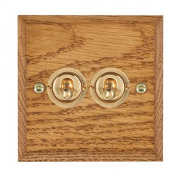 Hamilton Woods Chamfered Medium Oak 2 Gang 2 Way Toggle with Polished Brass Insert