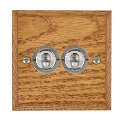 Hamilton Woods Chamfered Medium Oak 2 Gang 2 Way Toggle with Satin Chrome Insert