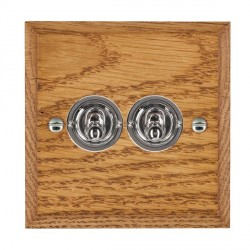 Hamilton Woods Chamfered Medium Oak 2 Gang 2 Way Toggle with Bright Chrome Insert