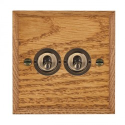 Hamilton Woods Chamfered Medium Oak 2 Gang 2 Way Toggle with Antique Brass Insert