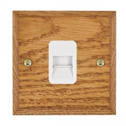 Hamilton Woods Chamfered Medium Oak 1 Gang Telephone Master Outlet with White Insert