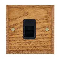 Hamilton Woods Chamfered Medium Oak 1 Gang Telephone Slave Outlet with Black Insert