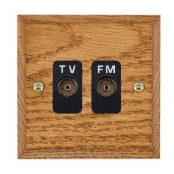 Hamilton Woods Chamfered Medium Oak 2 Gang Isolated TV/FM 1 in/2 out Outlet with Black Insert