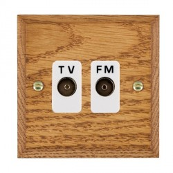 Hamilton Woods Chamfered Medium Oak 2 Gang Isolated TV/FM 1 in/2 out Outlet with White Insert
