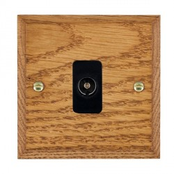Hamilton Woods Chamfered Medium Oak 1 Gang Isolated TV 1 in/1 out Outlet with Black Insert