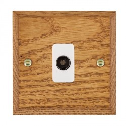 Hamilton Woods Chamfered Medium Oak 1 Gang Isolated TV 1 in/1 out Outlet with White Insert