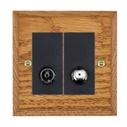 Hamilton Woods Chamfered Medium Oak 1 Gang TV + 1 Gang Satellite Outlet with Black Insert