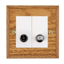 Hamilton Woods Chamfered Medium Oak 1 Gang TV + 1 Gang Satellite Outlet with White Insert