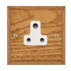 Hamilton Woods Chamfered Medium Oak 1 Gang 5A Unswitched Socket with White Insert