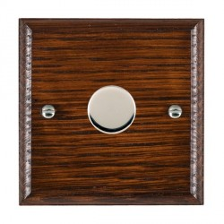 Hamilton Woods Ovolo Antique Mahogany 1 Gang 2 way 200VA Dimmer with Bright Chrome Insert