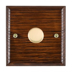 Hamilton Woods Ovolo Antique Mahogany 1 Gang 2 way 300VA Dimmer with Polished Brass Insert