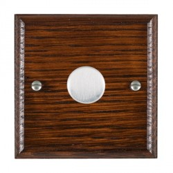 Hamilton Woods Ovolo Antique Mahogany 1 Gang 2 way 300VA Dimmer with Satin Chrome Insert