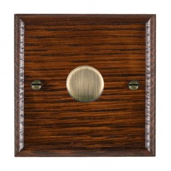 Hamilton Woods Ovolo Antique Mahogany 1 Gang 2 way 300VA Dimmer with Antique Brass Insert