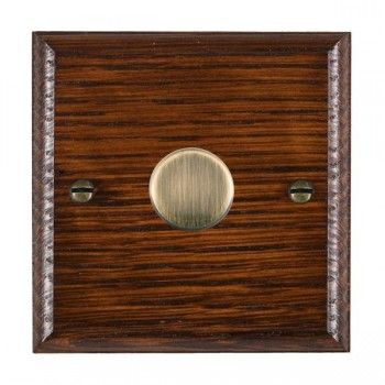 Hamilton Woods Ovolo Antique Mahogany 1 Gang Multi-way 250W/VA Dimmer with Antique Brass Insert