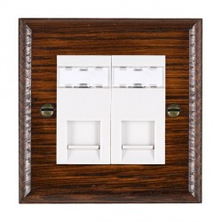 Hamilton Woods Ovolo Antique Mahogany 2 Gang RJ12 Outlet Unshielded Outlet with White Insert