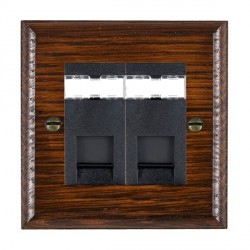 Hamilton Woods Ovolo Antique Mahogany 2 Gang RJ45 Cat 5E Unshielded Outlet with Black Insert