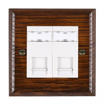 Hamilton Woods Ovolo Antique Mahogany 2 Gang RJ45 Cat 5E Unshielded Outlet with White Insert