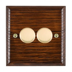 Hamilton Woods Ovolo Antique Mahogany 2 Gang Multi-way 250W/VA Dimmer with Polished Brass Insert