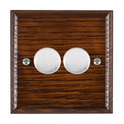 Hamilton Woods Ovolo Antique Mahogany 2 Gang Multi-way 250W/VA Dimmer with Satin Chrome Insert