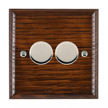 Hamilton Woods Ovolo Antique Mahogany 2 Gang Multi-way 250W/VA Dimmer with Bright Chrome Insert