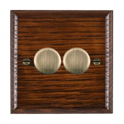 Hamilton Woods Ovolo Antique Mahogany 2 Gang Multi-way 250W/VA Dimmer with Antique Brass Insert