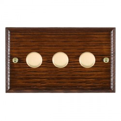 Hamilton Woods Ovolo Antique Mahogany 3 Gang Multi-way 250W/VA Dimmer with Polished Brass Insert