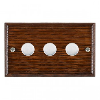 Hamilton Woods Ovolo Antique Mahogany 3 Gang Multi-way 250W/VA Dimmer with Satin Chrome Insert