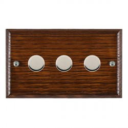 Hamilton Woods Ovolo Antique Mahogany 3 Gang Multi-way 250W/VA Dimmer with Bright Chrome Insert