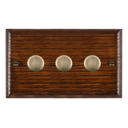 Hamilton Woods Ovolo Antique Mahogany 3 Gang Multi-way 250W/VA Dimmer with Antique Brass Insert