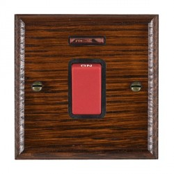 Hamilton Woods Ovolo Antique Mahogany 1 Gang 45A Double Pole Red + Neon Rocker with Black Insert
