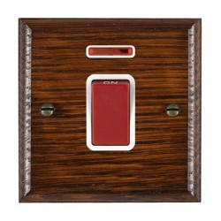 Hamilton Woods Ovolo Antique Mahogany 1 Gang 45A Double Pole Red + Neon Rocker with White Insert