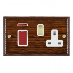 Hamilton Woods Ovolo Antique Mahogany 1 Gang 45A Double Pole Red + Neon + 1 Gang 13A Switched Socket with...