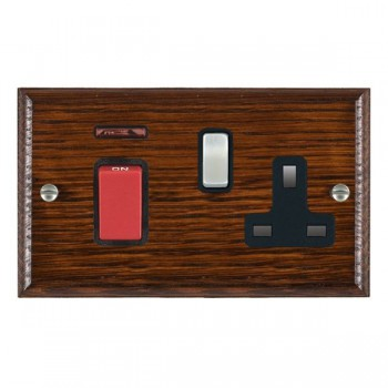 Hamilton Woods Ovolo Antique Mahogany 1 Gang 45A Double Pole Red + Neon + 1 Gang 13A Switched Socket with Black Insert