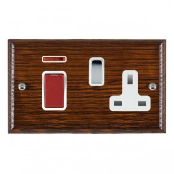 Hamilton Woods Ovolo Antique Mahogany 1 Gang 45A Double Pole Red + Neon + 1 Gang 13A Switched Socket with White Insert
