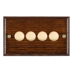 Hamilton Woods Ovolo Antique Mahogany 4 Gang Multi-way 250W/VA Dimmer with Polished Brass Insert